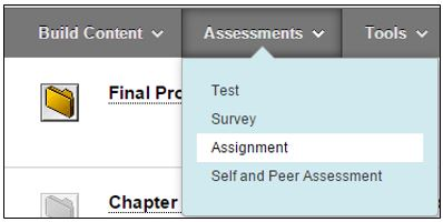 Assessments to Assignment for access