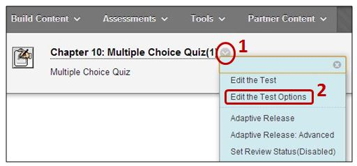 Edit the Test Options