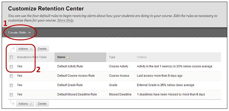 Create rule in Retention Center