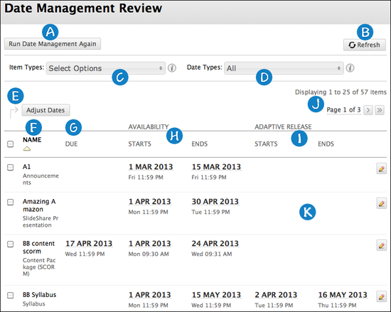 Feature layout for Date Management tool