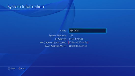 PS4 MAC Address Location