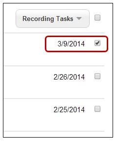 Check Box to Select Recording