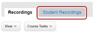 Uploaded recordings are found under Student Recordings tab