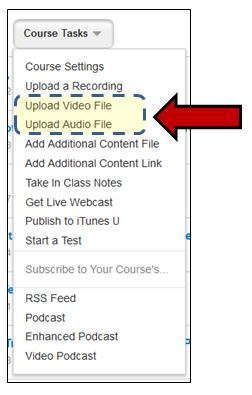 Select Upload Audio or Video File Option