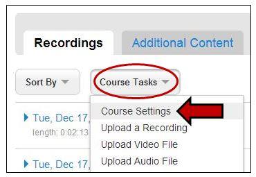 Course Task Menu