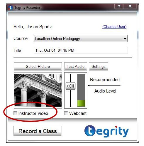 Tegrity Log In Window
