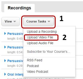Select Course Tasks then Upload Video File