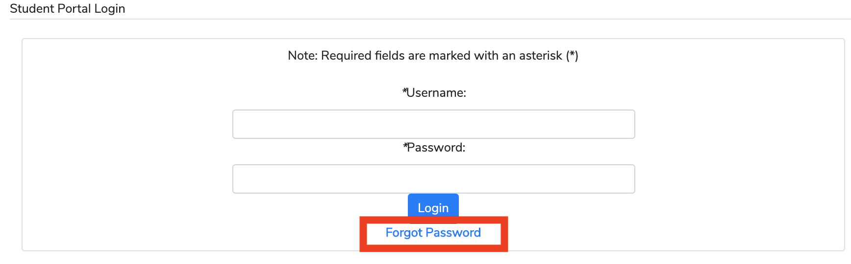 forgot password button